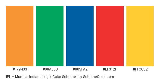 IPL – Mumbai Indians Logo - Color scheme palette thumbnail - #f79433 #00a65d #005fa2 #ef312f #ffcc32