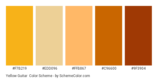Yellow Guitar - Color scheme palette thumbnail - #f7b219 #edd096 #ffb867 #c96600 #9f3904