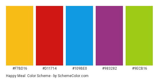 Happy Meal - Color scheme palette thumbnail - #f7bd16 #d11714 #109be0 #983282 #9ecb16