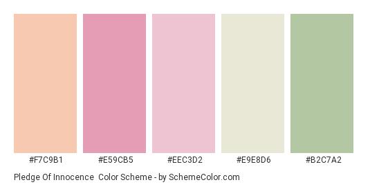 Pledge of Innocence - Color scheme palette thumbnail - #f7c9b1 #e59cb5 #eec3d2 #e9e8d6 #b2c7a2