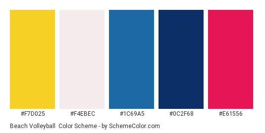 Beach Volleyball - Color scheme palette thumbnail - #f7d025 #f4ebec #1c69a5 #0c2f68 #e61556