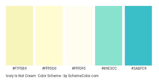 Ivory is Not Cream - Color scheme palette thumbnail - #f7f5b9 #fffdd0 #fffdf0 #89e3cc #3abfc9