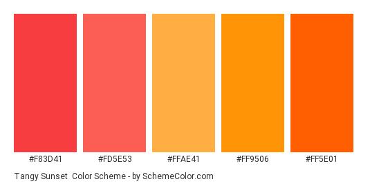 Tangy Sunset - Color scheme palette thumbnail - #f83d41 #fd5e53 #ffae41 #ff9506 #ff5e01