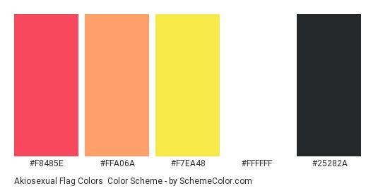 Akiosexual Flag Colors - Color scheme palette thumbnail - #f8485e #ffa06a #f7ea48 #ffffff #25282a
