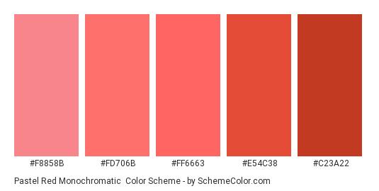 Pastel Red Monochromatic - Color scheme palette thumbnail - #f8858b #fd706b #FF6663 #e54c38 #c23a22
