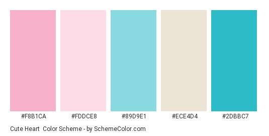 Cute Heart - Color scheme palette thumbnail - #f8b1ca #fddce8 #89d9e1 #ece4d4 #2dbbc7