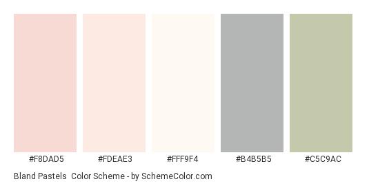 Bland Pastels - Color scheme palette thumbnail - #f8dad5 #fdeae3 #fff9f4 #b4b5b5 #c5c9ac