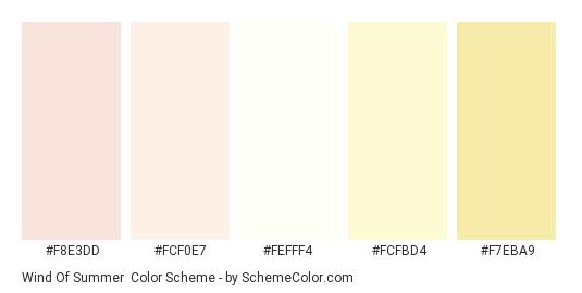 Wind of Summer - Color scheme palette thumbnail - #f8e3dd #fcf0e7 #fefff4 #fcfbd4 #f7eba9