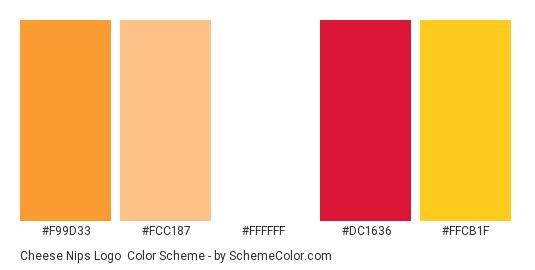 Cheese Nips Logo - Color scheme palette thumbnail - #f99d33 #fcc187 #ffffff #dc1636 #ffcb1f