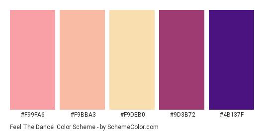 Feel the Dance - Color scheme palette thumbnail - #f99fa6 #f9bba3 #f9deb0 #9d3b72 #4b137f