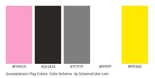 Queerplatonic Flag Colors - Color scheme palette thumbnail - #f99fc9 #2d2826 #7f7f7f #ffffff #ffe900