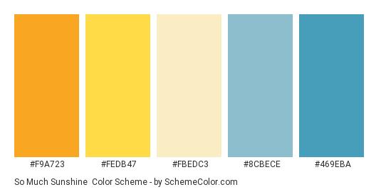 So Much Sunshine - Color scheme palette thumbnail - #f9a723 #fedb47 #fbedc3 #8cbece #469eba