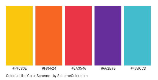 Colorful Life - Color scheme palette thumbnail - #f9c80e #f86624 #ea3546 #662e9b #43bccd