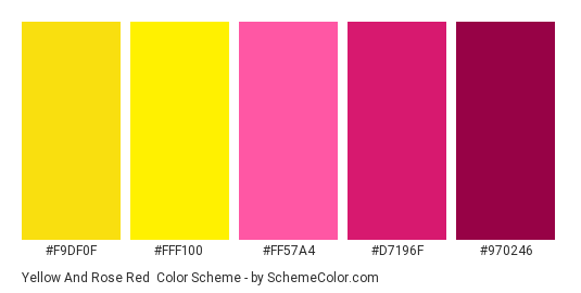 Yellow and Rose Red - Color scheme palette thumbnail - #f9df0f #fff100 #ff57a4 #d7196f #970246