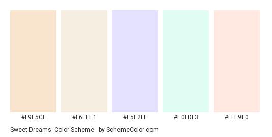 Sweet Dreams - Color scheme palette thumbnail - #f9e5ce #f6eee1 #e5e2ff #e0fdf3 #ffe9e0