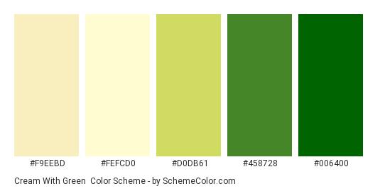 Cream with Green - Color scheme palette thumbnail - #f9eebd #fefcd0 #d0db61 #458728 #006400