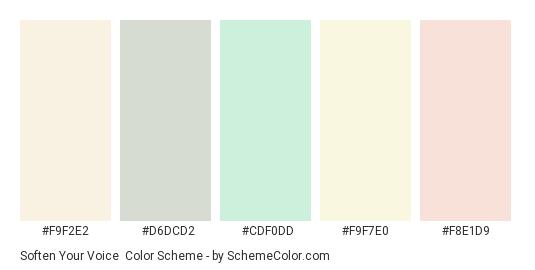 Soften Your Voice - Color scheme palette thumbnail - #f9f2e2 #d6dcd2 #cdf0dd #f9f7e0 #f8e1d9