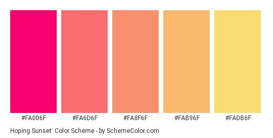 Hoping Sunset - Color scheme palette thumbnail - #fa006f #fa6d6f #fa8f6f #fab96f #fadb6f
