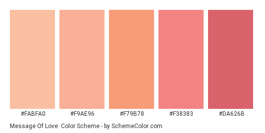 Message of Love - Color scheme palette thumbnail - #fabfa0 #f9ae96 #f79b78 #f38383 #da626b