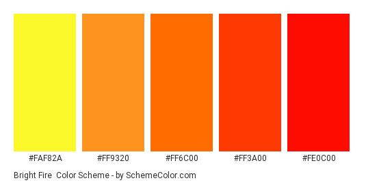 Bright Fire - Color scheme palette thumbnail - #faf82a #ff9320 #ff6c00 #ff3a00 #fe0c00