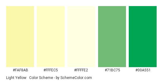 Light Yellow & Green - Color scheme palette thumbnail - #faf8ab #fffec5 #ffffe2 #71BC75 #00A551