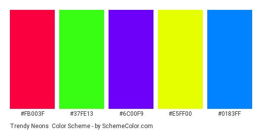 Trendy Neons - Color scheme palette thumbnail - #fb003f #37fe13 #6c00f9 #e5ff00 #0183ff