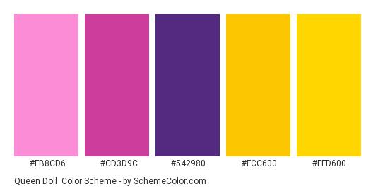 Queen Doll - Color scheme palette thumbnail - #fb8cd6 #cd3d9c #542980 #fcc600 #ffd600