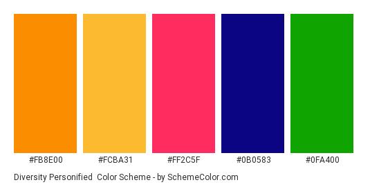 Diversity Personified - Color scheme palette thumbnail - #fb8e00 #fcba31 #ff2c5f #0b0583 #0fa400
