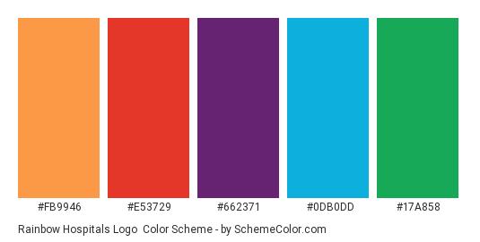 Rainbow Hospitals Logo - Color scheme palette thumbnail - #fb9946 #e53729 #662371 #0db0dd #17a858