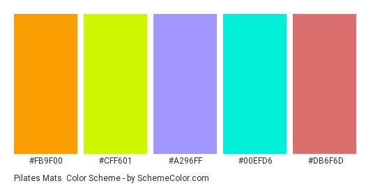 Pilates Mats - Color scheme palette thumbnail - #fb9f00 #cff601 #a296ff #00efd6 #db6f6d