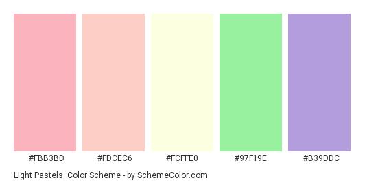 Light Pastels - Color scheme palette thumbnail - #fbb3bd #fdcec6 #FcFFE0 #97f19e #b39ddc