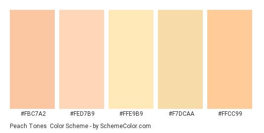 Peach Tones - Color scheme palette thumbnail - #fbc7a2 #fed7b9 #ffe9b9 #f7dcaa #ffcc99