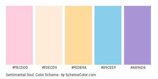 Sentimental Soul - Color scheme palette thumbnail - #fbcddd #fdecd9 #fedb9a #89cee9 #a896d6