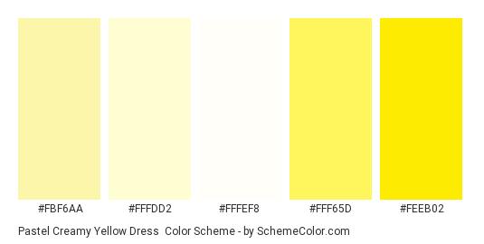 Pastel Creamy Yellow Dress - Color scheme palette thumbnail - #fbf6aa #fffdd2 #fffef8 #fff65d #feeb02