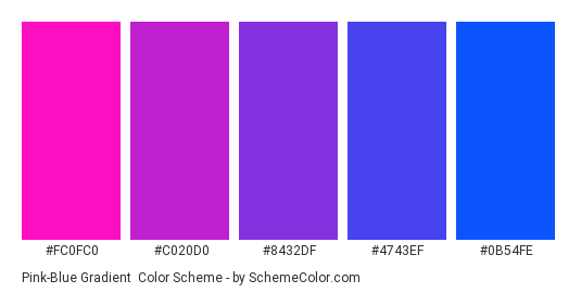 Pink-Blue Gradient - Color scheme palette thumbnail - #fc0fc0 #c020d0 #8432df #4743ef #0b54fe