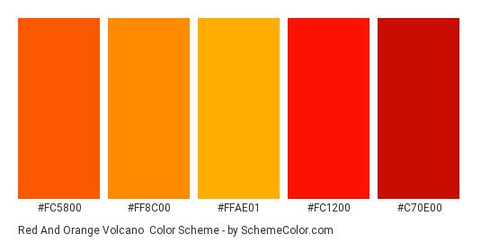 Red and Orange Volcano - Color scheme palette thumbnail - #fc5800 #ff8c00 #ffae01 #fc1200 #c70e00