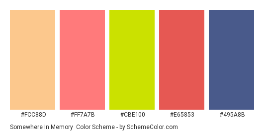 Somewhere in Memory - Color scheme palette thumbnail - #fcc88d #ff7a7b #cbe100 #e65853 #495a8b