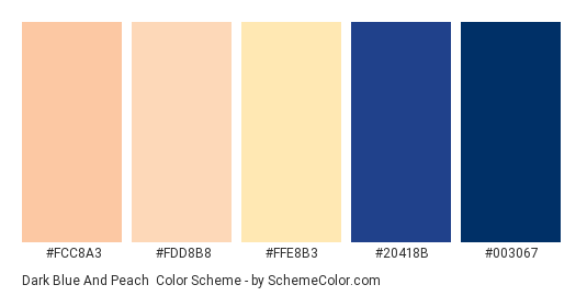 Dark Blue and Peach - Color scheme palette thumbnail - #fcc8a3 #fdd8b8 #ffe8b3 #20418b #003067