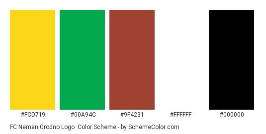 FC Neman Grodno Logo - Color scheme palette thumbnail - #fcd719 #00a94c #9f4231 #ffffff #000000