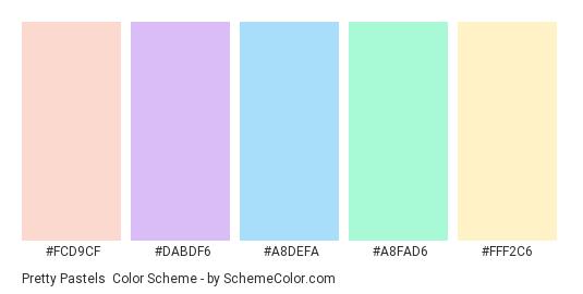 Pretty Pastels - Color scheme palette thumbnail - #fcd9cf #dabdf6 #a8defa #a8fad6 #fff2c6