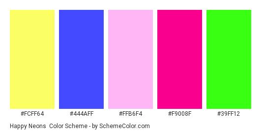 Happy Neons - Color scheme palette thumbnail - #fcff64 #444aff #ffb6f4 #f9008f #39ff12