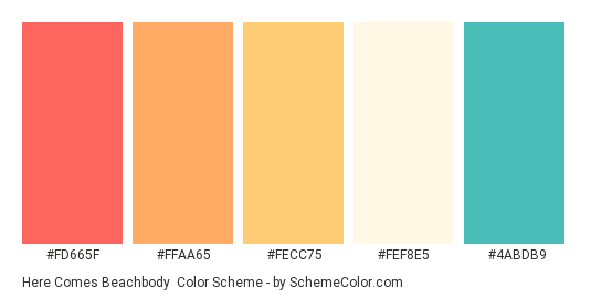 Here Comes Beachbody - Color scheme palette thumbnail - #fd665f #ffaa65 #fecc75 #fef8e5 #4abdb9
