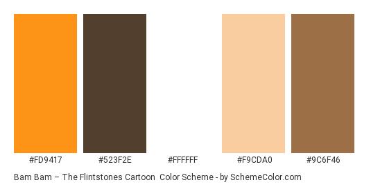 Bam Bam – The Flintstones Cartoon - Color scheme palette thumbnail - #fd9417 #523f2e #ffffff #f9cda0 #9c6f46