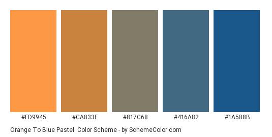 Orange to Blue Pastel - Color scheme palette thumbnail - #fd9945 #ca833f #817c68 #416a82 #1a588b