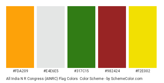 All India N R Congress (AINRC) Flag Colors - Color scheme palette thumbnail - #fda209 #e4e6e5 #317c15 #982424 #f2e002