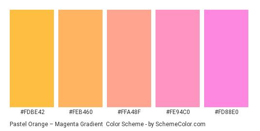 Pastel Orange – Magenta Gradient - Color scheme palette thumbnail - #fdbe42 #feb460 #ffa48f #fe94c0 #fd88e0