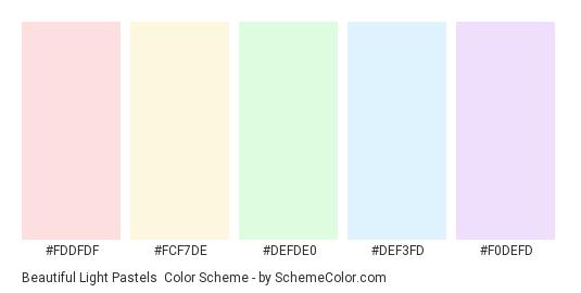 Beautiful Light Pastels - Color scheme palette thumbnail - #fddfdf #fcf7de #defde0 #def3fd #f0defd