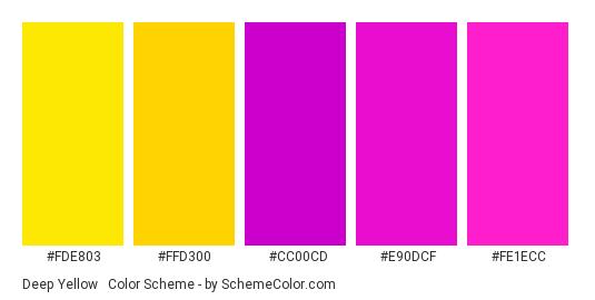 Deep Yellow & Magenta - Color scheme palette thumbnail - #fde803 #ffd300 #cc00cd #e90dcf #fe1ecc