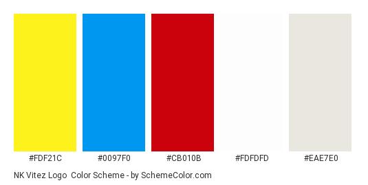 NK Vitez Logo - Color scheme palette thumbnail - #fdf21c #0097f0 #cb010b #fdfdfd #eae7e0