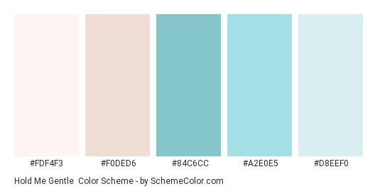 Hold Me Gentle - Color scheme palette thumbnail - #fdf4f3 #f0ded6 #84c6cc #a2e0e5 #d8eef0